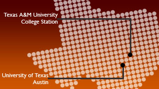 graphic of Texas with locations of UT-Austin and TAMU-college Station